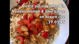 Quorn Pieces Cooked In Nandos Mango & Lime Cooking Sauce On A Bed Of Brown Rice - 29.05.15