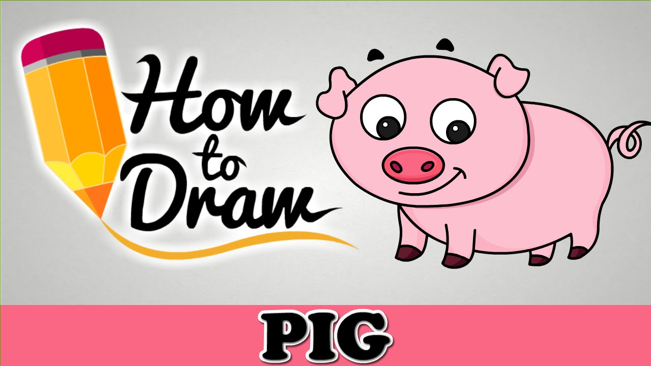 how to draw a cute pig easy step by step cartoon art drawing lesson tutorial for kids beginners youtube