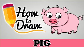 How To Draw A Cute Pig - Easy Step By Step Cartoon Art Drawing Lesson Tutorial For Kids & Beginners