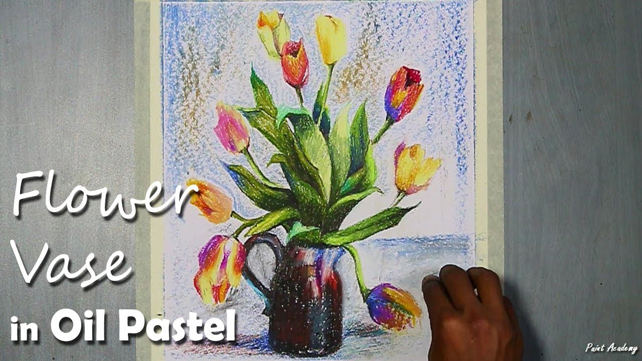 How To Paint A Beautiful Flower Vase In Oil Pastel Step By Step Youtube