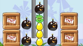 Angry Birds Bomb Bomber Throw Away All Piggies Skill Game