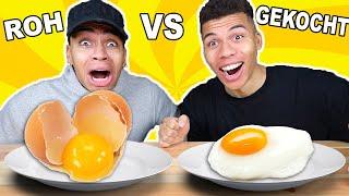ROHES ESSEN VS GEKOCHTES ESSEN CHALLENGE 2 !!! | Kelvin und Marvin