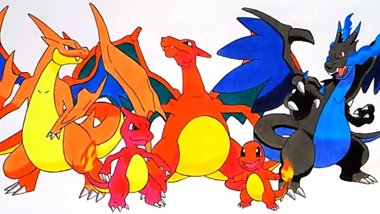 Cómo Dibujar A Charmander Charmeleon Charizard Mega Charizard X Y Familia Pokemón