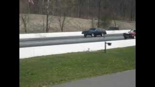 Cutlass vs 1965 Mustang gasser quarter mile pass Lebanon Valley 4/14/12