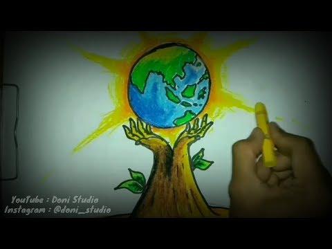 Cara Membuat Poster Lingkungan Hidup Poster Bumi Hijau Youtube