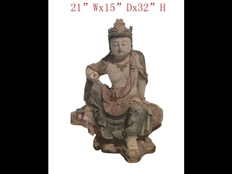 Sitting Peaceful KwanYin Chinese Antique Wooden Carving Statue WK2851