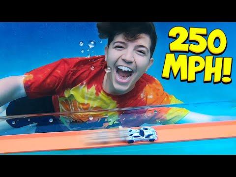 World's Fastest UNDERWATER Hot Wheels Track! (250 MPH)