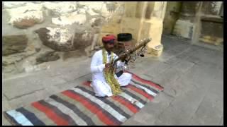 Rajasthani folk song artist on mehrangadh fort