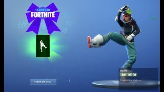Free Take the Elf Emote is finally here | 8th Present Reveal | - 14 days of Fortnite