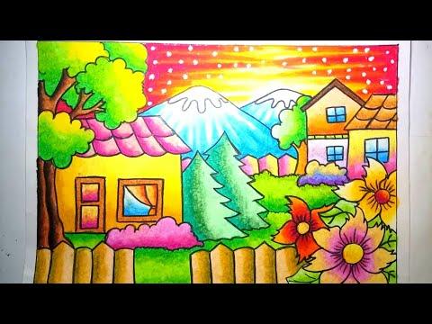 Cara mewarnai  gradasi oilpastel / crayon : Pemandangan alam dan rumah / Drawing Scenery