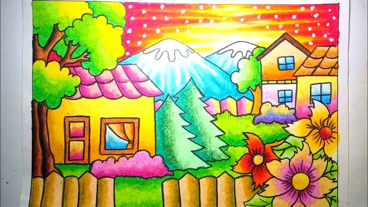 Cara mewarnai yang bagus,cara mewarnai gradasi oilpastel crayon pemandangan alam dan rumah drawing scenery