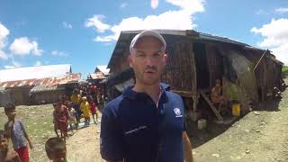OCHA's Pierre Peron visits a displacement camp in Myanmar