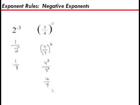 Exponent Rules, Negative Exponents
