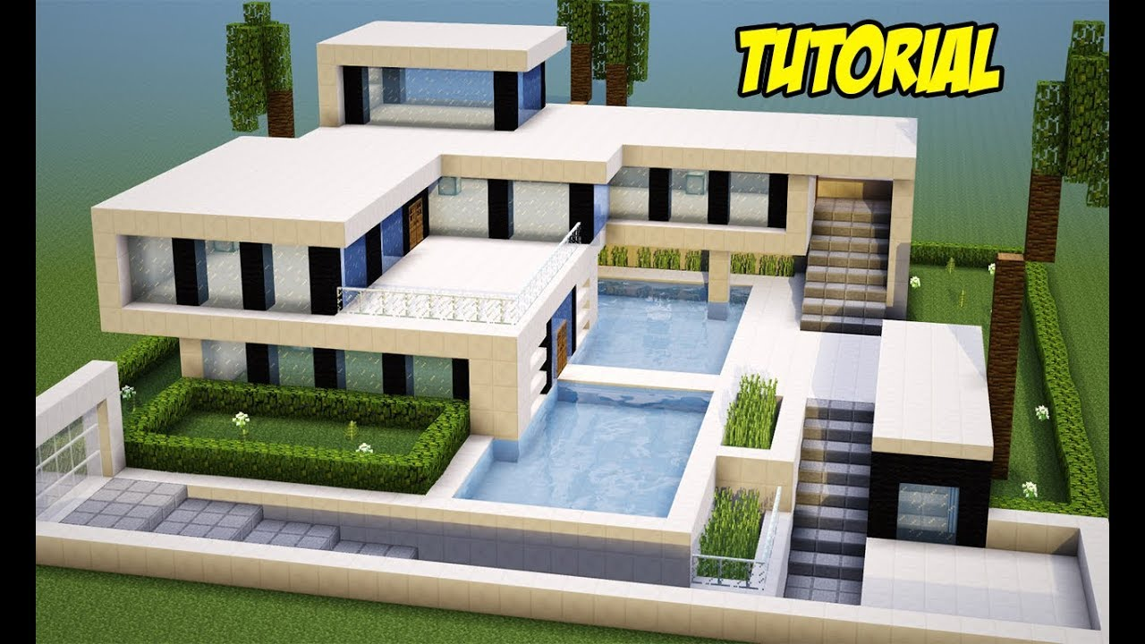 Minecraft tutorial mans o ultra moderna completa youtube for Casas modernas no minecraft