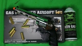 hfc 6 bull barrel savage bull full size arisoft gas revolver unboxing shooting test review