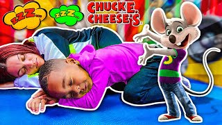 24 Hour OverNight Sleeping Challenge At Chuck E Cheese