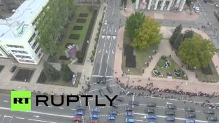 ukraine drone captures cars forming dnr dpr flag