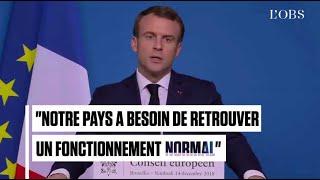 """Macron appelle les """"gilets jaunes"""" à """"s"""