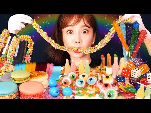 eng-sub)-rainbow-jellies&candies-mukbang-color-food-candy-asmr-ssoyoung