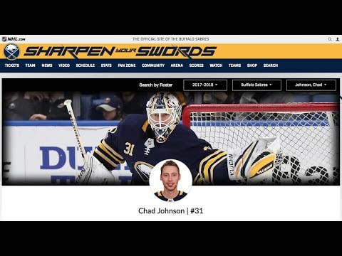 NHL Chad Johnson is a Winner Buffalo Sabres Goalie 3/27/18 Hockey NHL