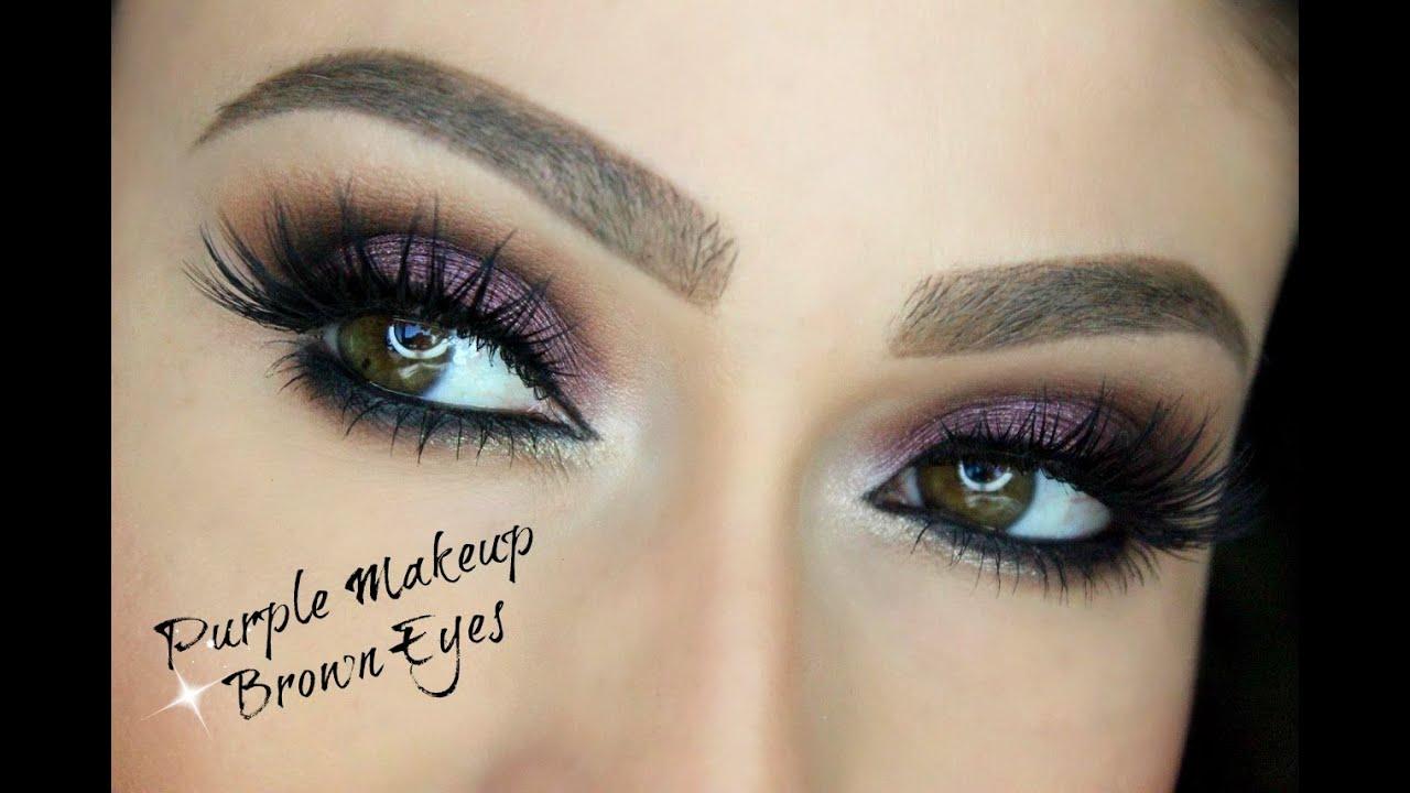 purple makeup for brown eyes eye makeup tutorial youtube. Black Bedroom Furniture Sets. Home Design Ideas