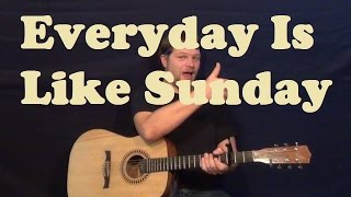 Everyday is Like Sunday (Morrissey) Guitar Lesson Easy Strum Chords Licks How to Play Tutorial