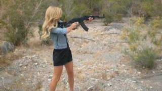 Nicole Shooting AK47 Girl Shoots Big Gun