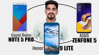 ASUS Zenfone 5 vs Xiaomi Redmi Note 5 Pro vs Honor 9 Lite Comparison overview Hindi