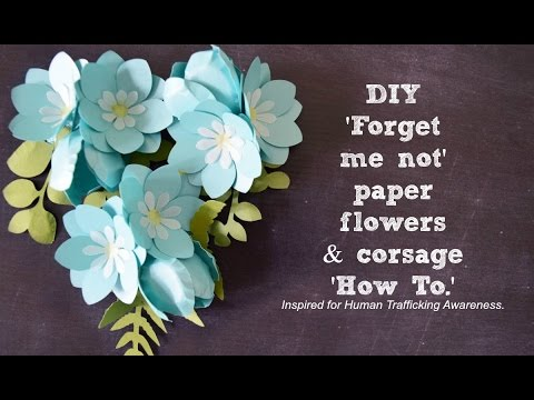 DIY Small Paper Flowers and corsage \u0027How To\u0027 - \u0027Forget me not