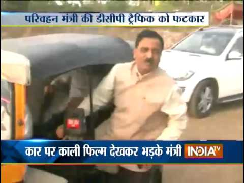 Transport Minister Scolds DCP Traffic for Using Car with Tinted Glass - India TV