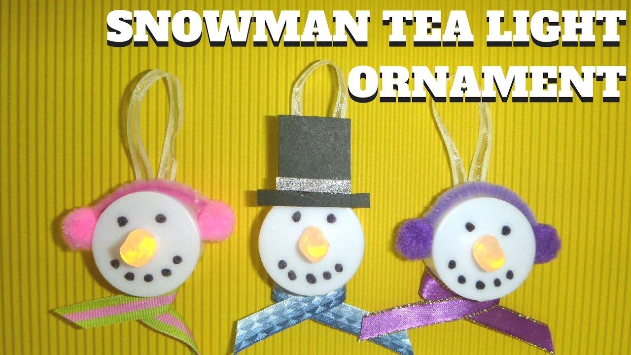 Easy Christmas Crafts For Kids Snowman Tea Light Ornament Youtube