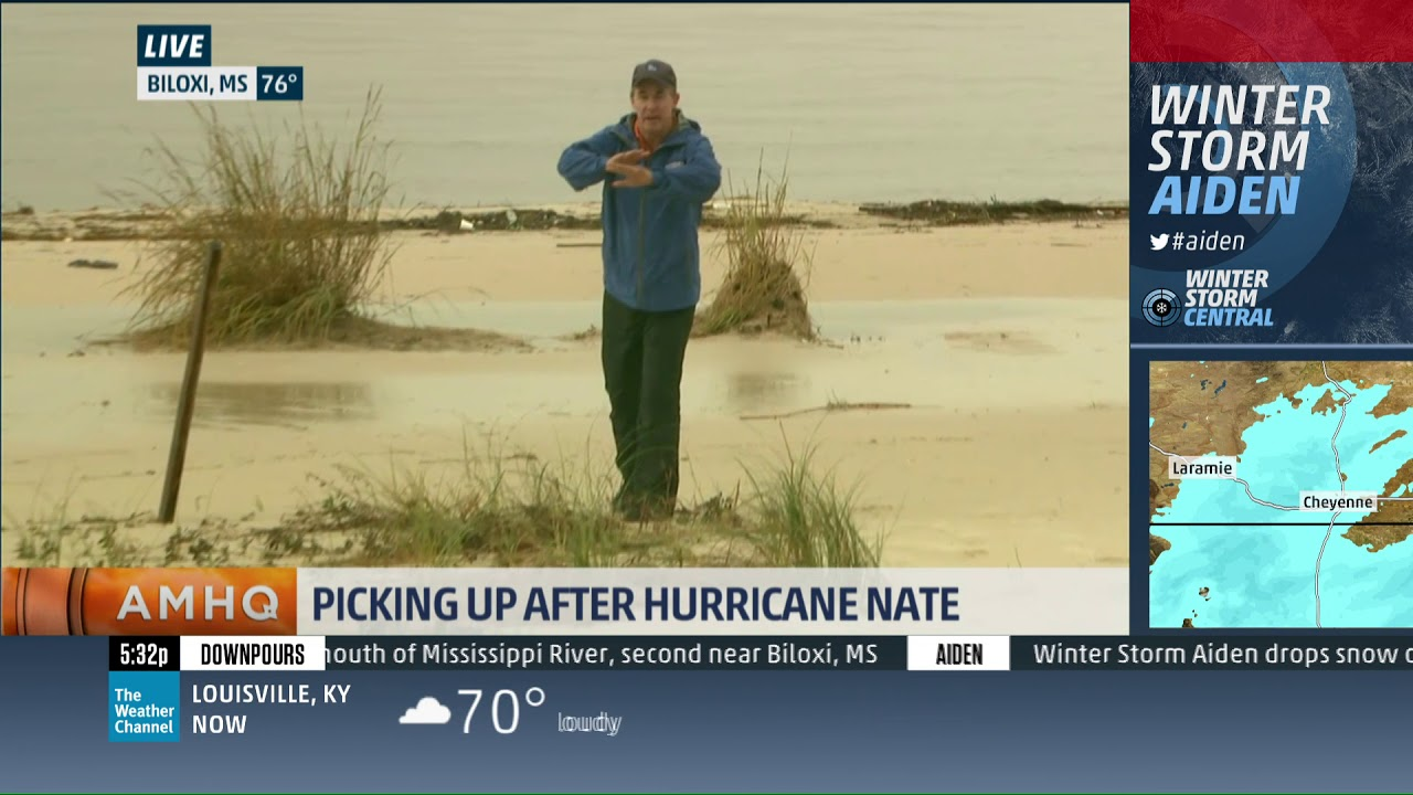 Mike Seidel The Weather Channel Hurricane Nate Beach Aftermath Biloxi, MS  10-9-2017