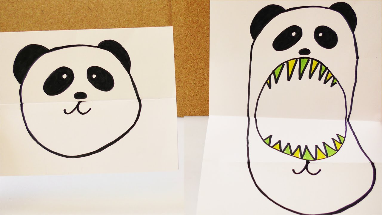 Süßer Panda Vs Panda Monster Stimmungs Faltbild Mit Knuffigem Bär Geburtstagskarte Basteln