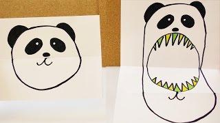 süßer Panda VS Panda Monster | Stimmungs Faltbild mit knuffigem Bär | Geburtstagskarte basteln