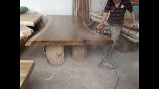 Solid Acacia Wood Slab Dining Table Reclaimed Wood Custom Made
