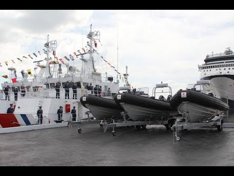 The Philippine Coast Guard commissioned three Parola class Multi role Response Vessels for patrol