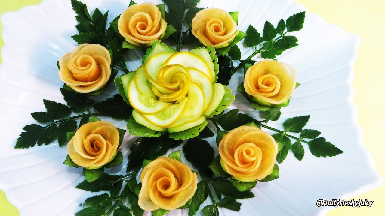 The Most Satisfying Garnish of Zucchini & Radish Rose Designs - A Must-Watch Video