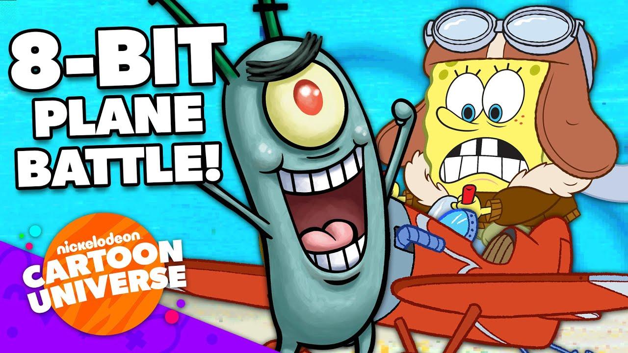 SpongeBob vs. Plankton Video Game: Plane Battle! 🎮 | Nickelodeon Cartoon Universe