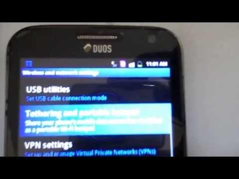 Using a Samsung galaxy y pro duo to create a mifi hotspot