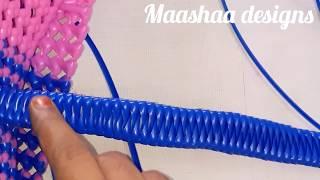 Zigzag handle making for basket(model 23)கூடை கைப்பிடி பின்னுதல்
