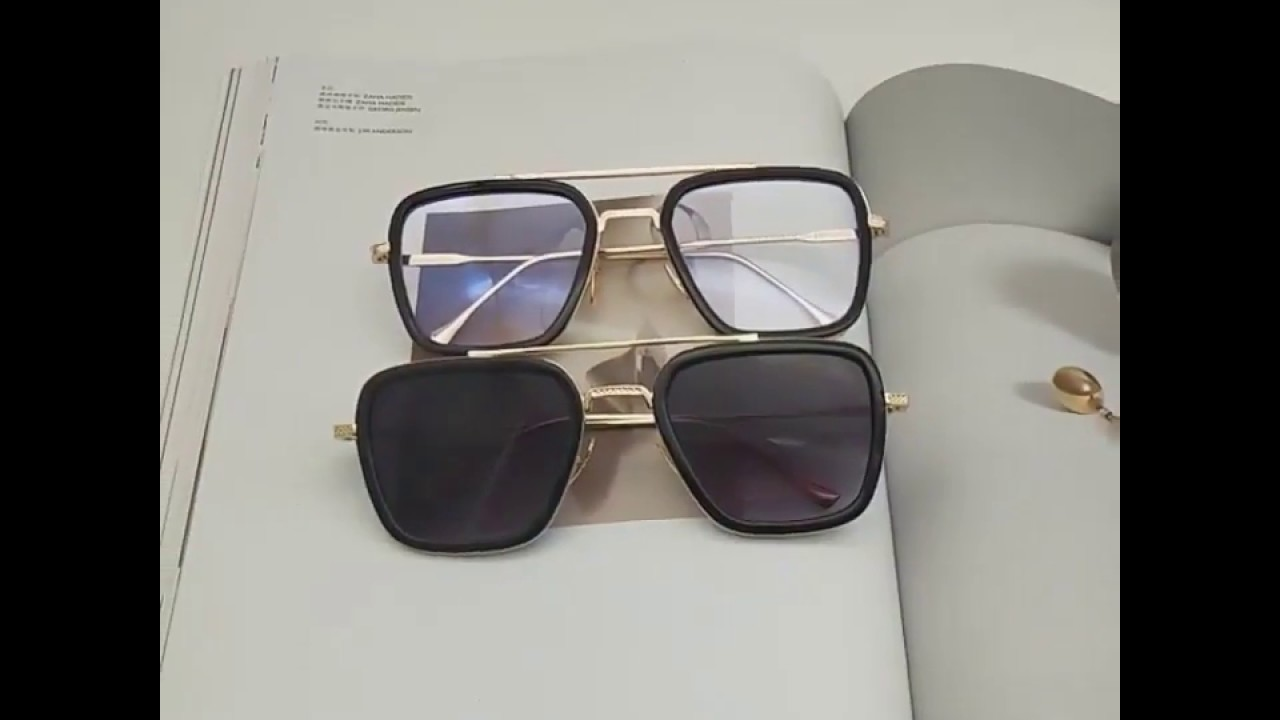 2d09f21f17025 Hawaii Avengers Tony Stark Style Sunglasses Men Square Aviation Brand  Design Sun Glasses