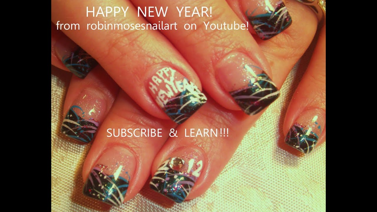 easy nye nail art design new years eve firework nails tutorial youtube - Nail Design Ideas 2012