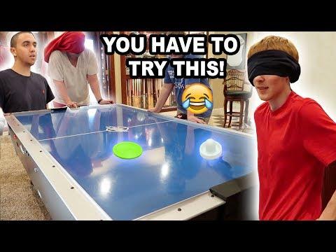 BLINDFOLD AIR HOCKEY CHALLENGE!!
