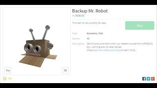 HOW TO GET A EXCLUSIVE HAT(backup mr.robot) ON ROBLOX(not free) - roblox