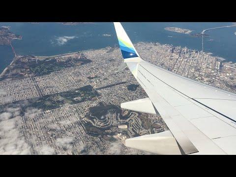 Flying - Landing Into San Francisco International Airport (California, USA) on Alaska Airlines
