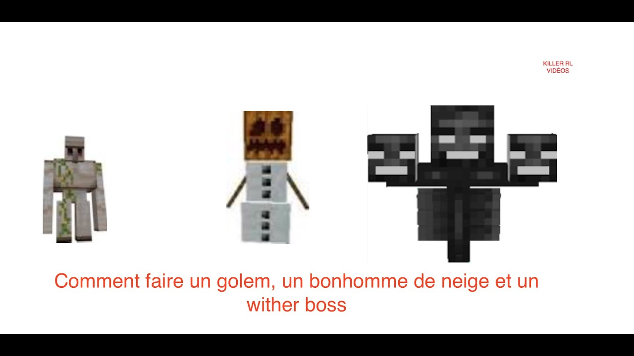 comment faire un bonhomme de neige un golem et un wither boss sur minecraft killer rl youtube. Black Bedroom Furniture Sets. Home Design Ideas
