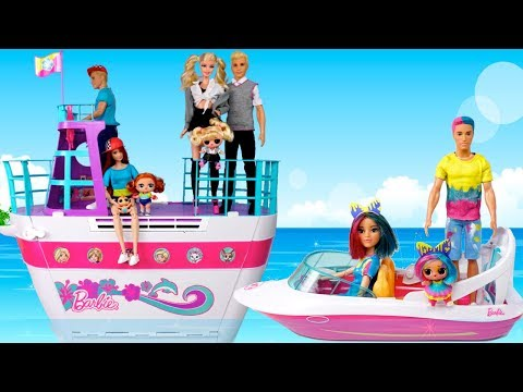 Barbie Doll LOL Family Travel Routine in Pink Barbie Cruise Ship with Pool!