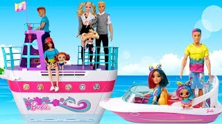 Barbie  Cruise Ship LOL Family Travel Routine - LOL Dolls Beach Day