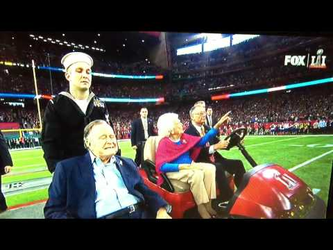 Super Bowl George & Barbara Bush Standing Ovation Arrive For Coin Toss