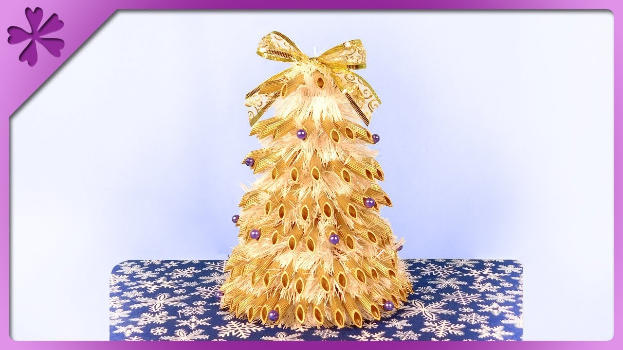 DIY How to make Christmas tree out of pasta and tinsel ...